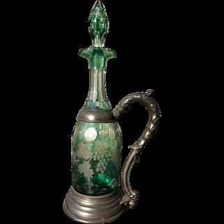 Art Nouveau Bohemian Glass Decanter circa 1890-1900 set, Pewter