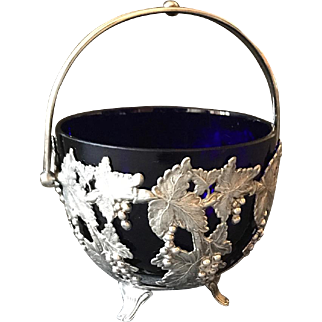 Antique Silverplate Sweetmeat Basket Cobalt Glass Liner circa 1900-1920s