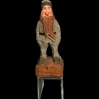 "Anri Italian WWII Soldier Hand Carved 9 1/2"" Wood Figurine circa 1930s-1940s"