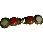 Antique Chinese Belt Buckle with Jade Circa 1890 to 1900