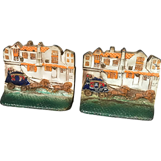 Painted Iron London Coach Scene Bookends circa 1930s-40s