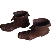 Vintage Black Forest Mini Hand Carved Wooden Shoes