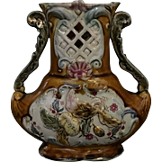 Antique Continental Majolica Vase Circa 1870s-1890s