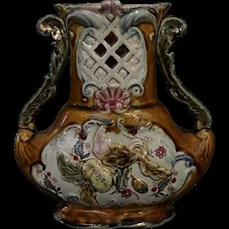 Antique Continental Majolica Vase Circa 1870s-1890s