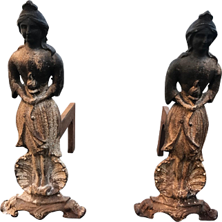 Lady Liberty Cast Iron Andirons c. 1850s-1870s