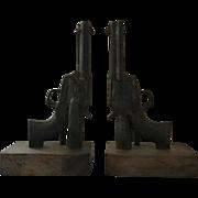 Western Theme Revolver Bookends Circa 1940s-1950s