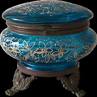 19th Century Victorian Art Glass Footed Dresser Box