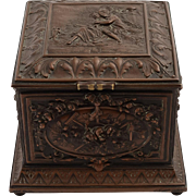 French Bronze Embossed Trinket Box with Flute Player on Lid, Circa 1880