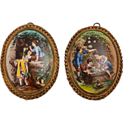 Pair of Brass Framed China Victorian Ovals