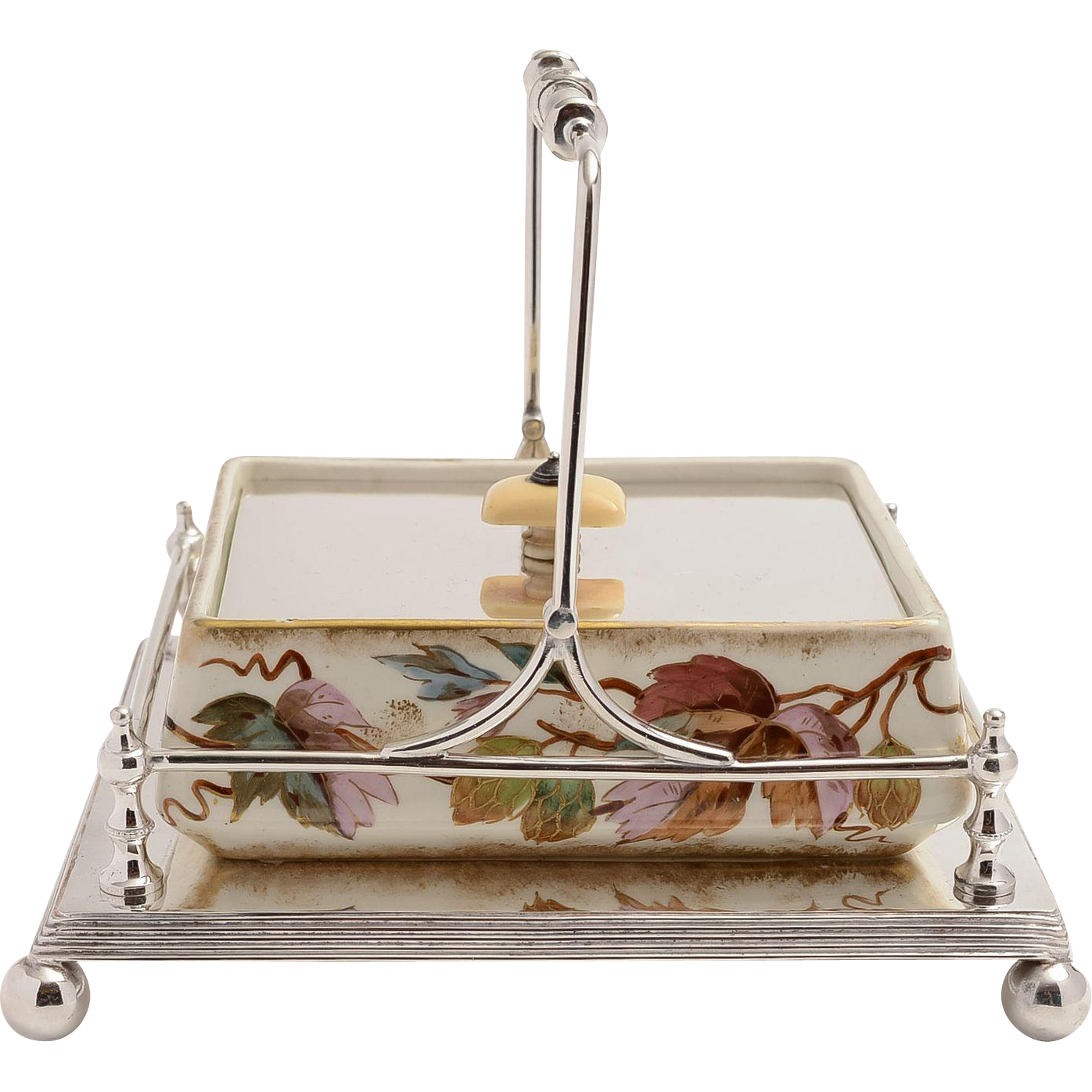 Victorian Oblong hand painted & silver plated butter dish.
