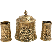 Art Gold Bronze Elkington Tobacco Box with Matching Spill Holders
