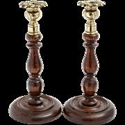 Pair of Baluster Oak Turned Candlesticks, circa 1920