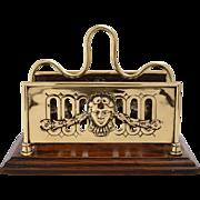 Brass & Oak Letter Rack by William Tonk & Son