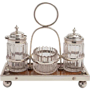 Lovely Pillar Cut Glass Oak & Silver Plated Cruet Set