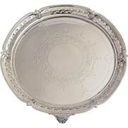 Edwardian Pierced & Embossed English Silver Plated Salver