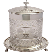 Victorian Etched Glass & Silver Plated Biscuit/Cookie Jar, Circa 1880