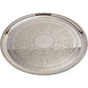 Victorian silver plate large engraved salver