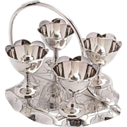 Pretty silver plated Victorian four egg cruet