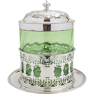 Victorian Glass & Silver Plated Biscuit/Cookie Jar.