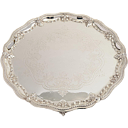 Large Victorian Silver Plated Elkington Salver, Dated 1873