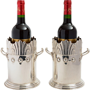 Pair Art Nouveau English Silver Plated Wine Bottle Holders