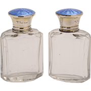 Pair of Sterling Silver topped blue Guilloche scent bottles
