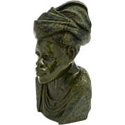 Green Granite Carved African Tribal Bust, Circa 1930