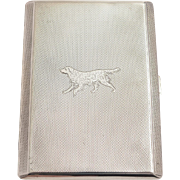 Silver Cigarette Case with Dog Engraved to Front, Hallmarked Birmingham 1933