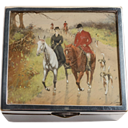 Edwardian Trinket Box with English Hunting Scene