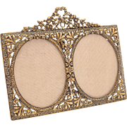 Edwardian brass double photo frame