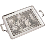 French silver plated, copper engraved tray