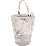 Maple & Co English Cut Glass and Silver Plated Ice Bucket, Circa 1920