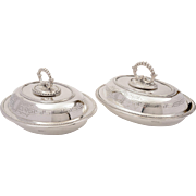 A matched pair of Victorian silver plated entrée dishes by Hukin & Heath, circa 1890