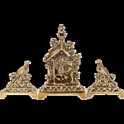 Tri Brass Garniture of Beehive, Bear and Pheasants, Circa 1880