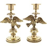 Matched Pair of French Brass Candlesticks, Circa 1870