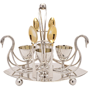 Novelty Swan Silver Plated Egg Cruet, Circa 1900
