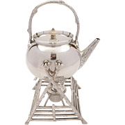 Victorian Silver Plated Naturalistic Spirit Kettle on Stand, Circa 1890