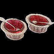 Pair of Novelty Victorian Basket Weave Salts, Circa 1870