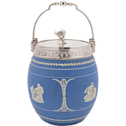 Victorian Blue Jasperware China Cookie Jar, Circa 1890