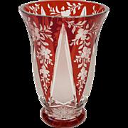 Bohemian Ruby Overlaid Glass Vase, Circa 1900