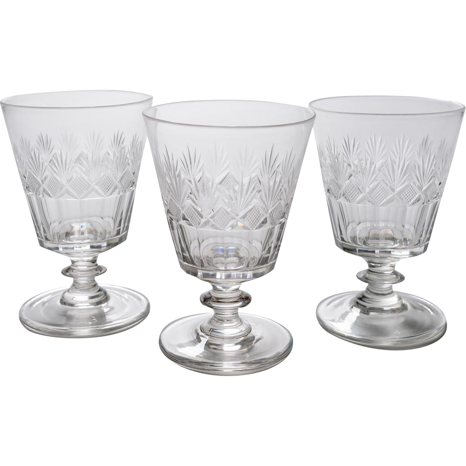 Set of 3 Cut Glass Bucket Rummers, Circa 1825