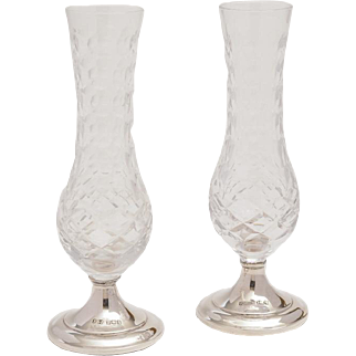 Pair of Cut Glass Silver Based Vases, 1982