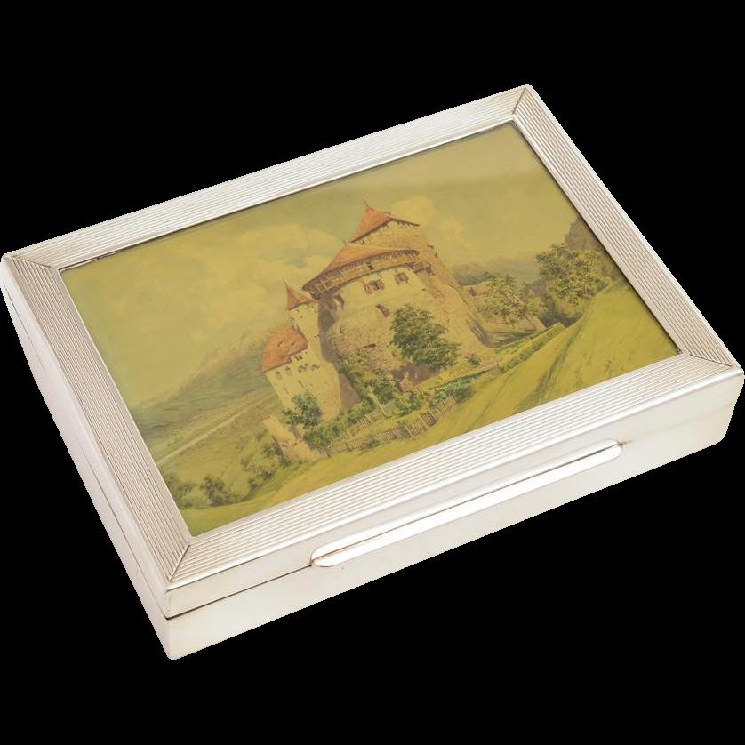 German Silver and Glass Card Box with Cedar Wood Lining, Circa 1930