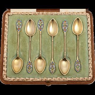 6 Silver Gilt Enamel Teaspoons (Royal Connection)