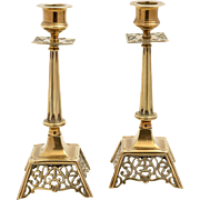 Pair of Victorian Brass Candlesticks, Circa 1890