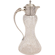 Edwardian Art Nouveau Silver Topped Claret Jug, Sheffield 1901