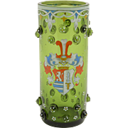 German Green Glass Heraldry Vase, Circa 1900