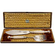 Cased Pair of Mother of Pearl Fish Servers, Circa 1880