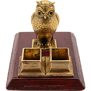 Victorian Novelty Brass Owl Stamp Dispenser Circa 1880
