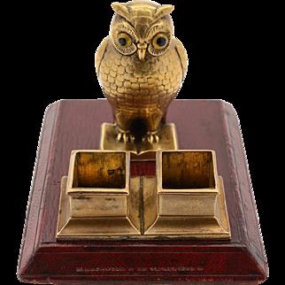 Victorian Novelty Brass Owl Stamp Dispenser Circa 1880